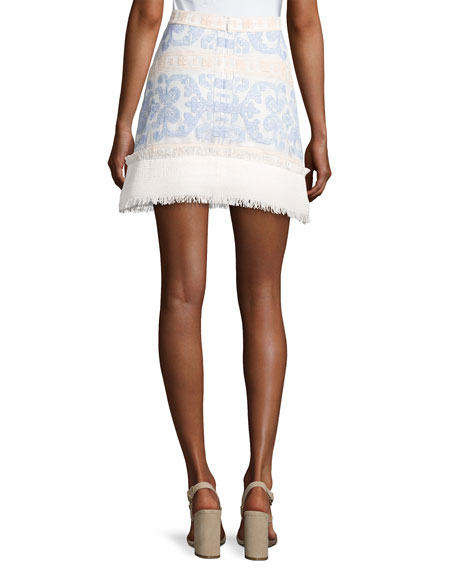 Anzel Embroidered Mini Skirt, Blue Pattern