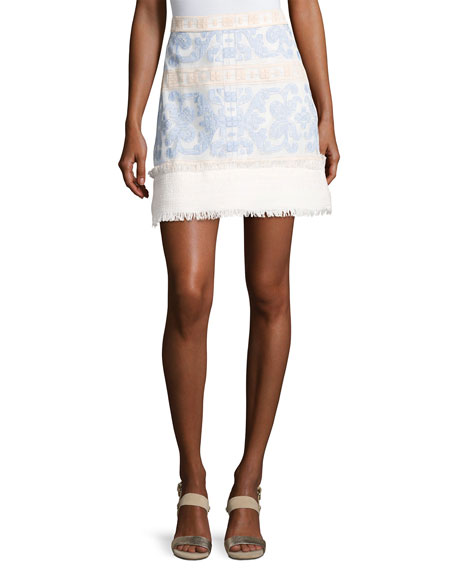 Alexis Anzel Embroidered Mini Skirt, Blue Pattern