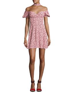 Loele Off-the-Shoulder Draped Choker Dress, Pink
