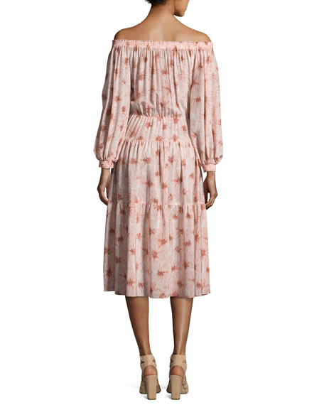 Tilia Floral-Print Off-the-Shoulder Midi Dress, Pink
