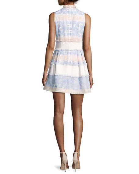 Minika Embroidered Mock-Neck Dress, Blue Pattern