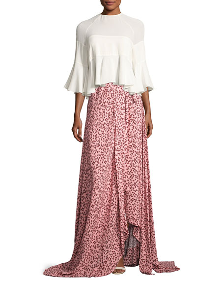 Corinna Floral-Print Tie-Side Maxi Skirt, Pink