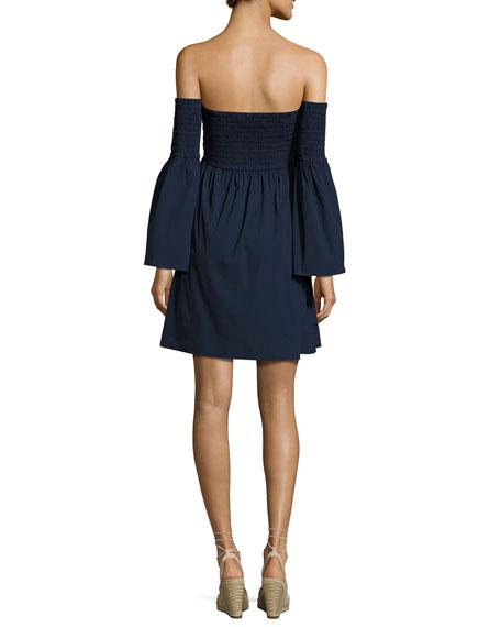 Jodi Smocked Off-the-Shoulder Poplin Dress, Navy