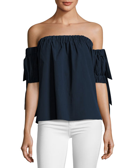 Off-the-Shoulder Stretch-Poplin Bow Top, Navy