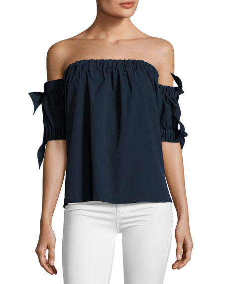 1f7e8b206a5ad Milly Off-the-Shoulder Stretch-Poplin Bow Top