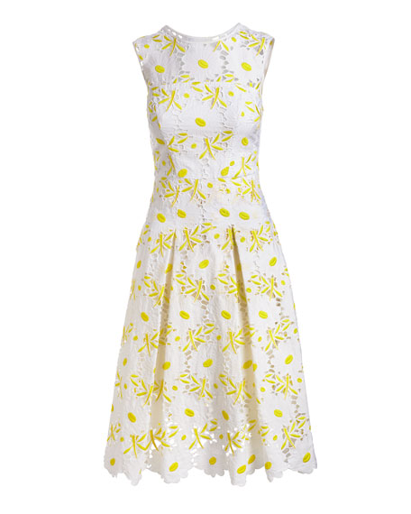 Petal Eyelet A-Line Dress, Yellow
