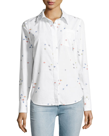 Milly Surfer-Print Coupé Button-Down Shirt, White