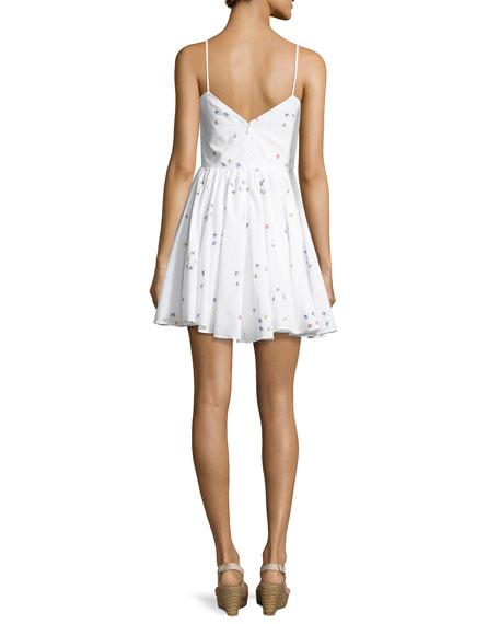 Gemma Surfer-Print Coupé Sweetheart Dress, White