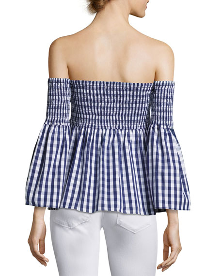 Jodi Off-the-Shoulder Smocked Gingham Top, Navy