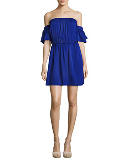 Christy Off-the-Shoulder Stretch-Silk Dress, Cobalt