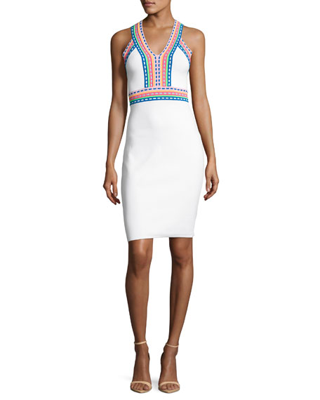 Sleeveless Woven-Trim Sheath Dress, White