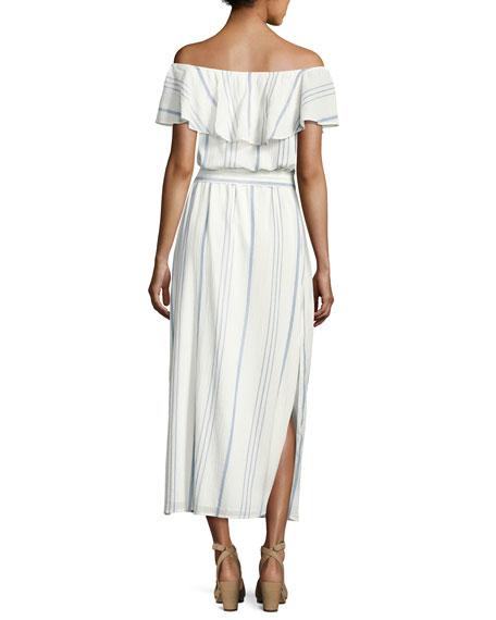 Almante Striped Cotton Maxi Dress, White