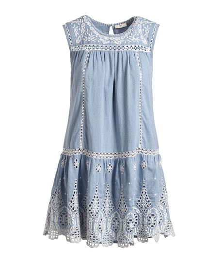 Josune Embroidered Cotton Dress, Blue