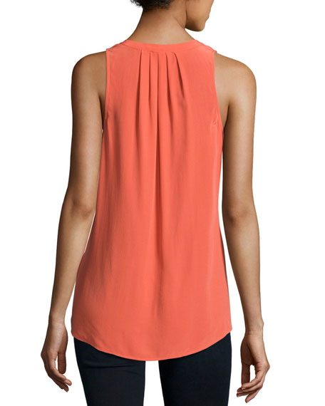 Deasia Lace-Up Tank Top, Orange