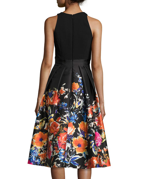 Sleeveless Combo Floral Midi Cocktail Dress