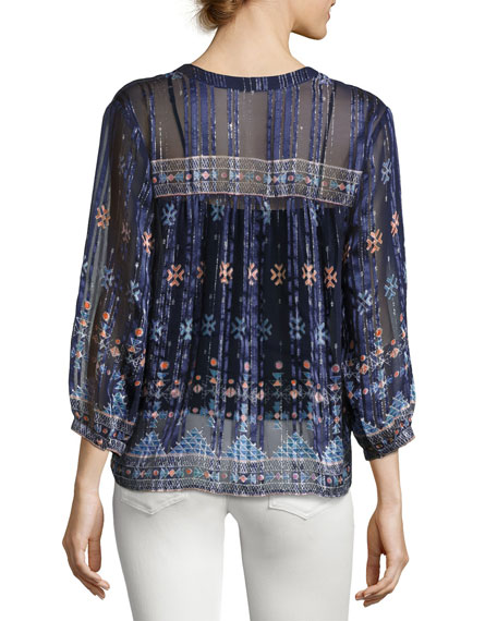 Sendoa Metallic-Trim Silk Blouse, Blue