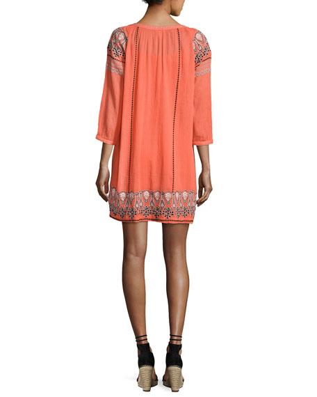 Nieva Embroidered Tassel Dress, Orange