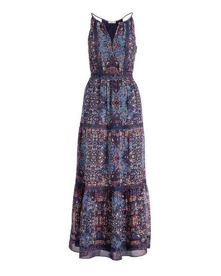 Agnece Tiered Silk Maxi Dress, Blue
