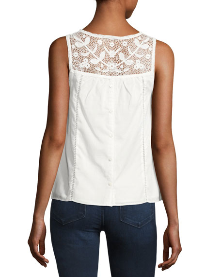 Irene Embroidered Cotton Top, White