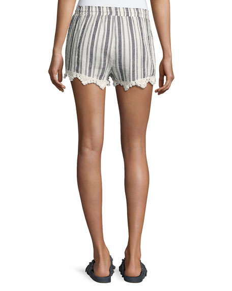 Angelle Striped Tassel Drawstring Shorts, White