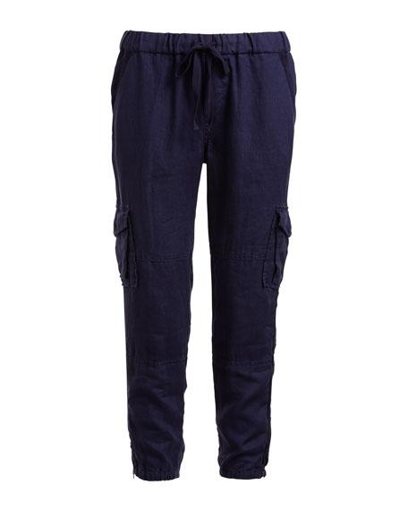 Argine Linen Jogger Pants, Blue
