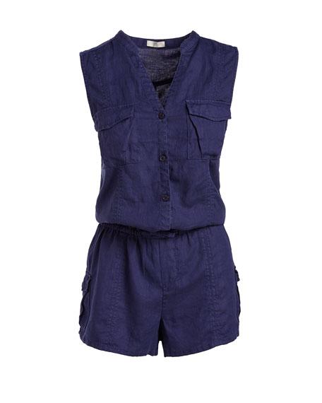 Apoline Sleeveless Shorts Linen Romper, Blue