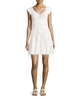 Paxti Embroidered Cotton Dress, Porcelain