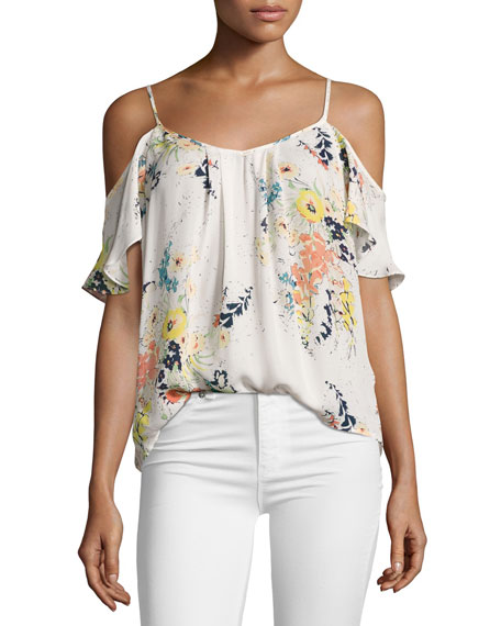 Joie Adorlee Floral-Print Cold-Shoulder Silk Blouse, White