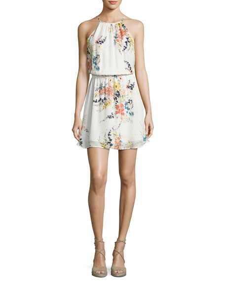 Joie Makana Silk Floral Mini Dress, Porcelain