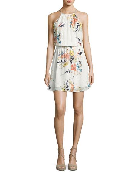 Makana Silk Floral Mini Dress, Porcelain