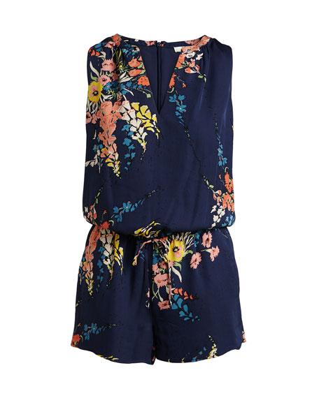 Tere Floral-Print Silk Romper, Blue