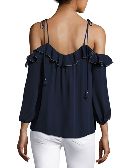 Eukene Cold-Shoulder Silk Top, Blue