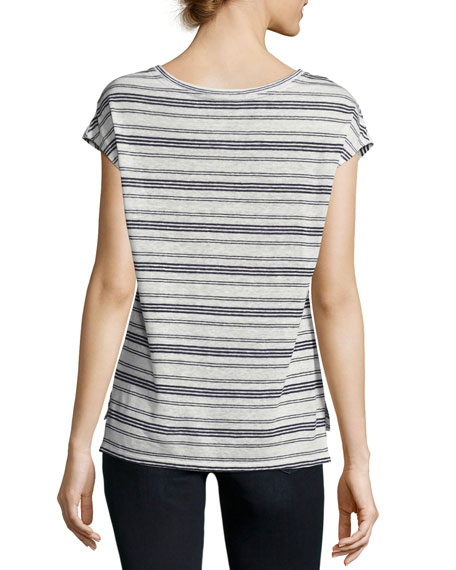 Kinsley Striped Linen Top, White