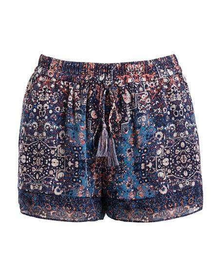 Lindee Printed Drawstring Silk Shorts, Blue
