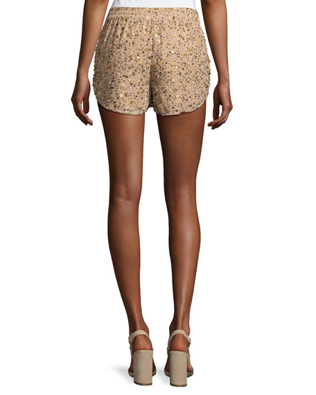 Joselle Sequin Drawstring Shorts, Nude
