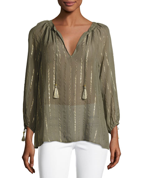 Joie Julianie Split-Neck Silk Top, Fatigue