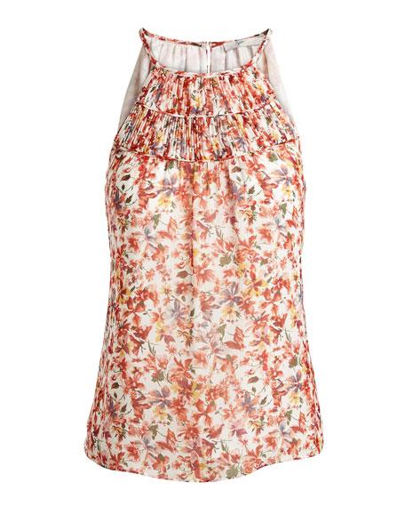 Pomeline Sleeveless Halter-Neck Floral-Print Top, Porcelain