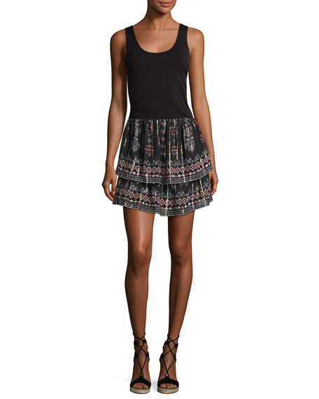 Lyane Convertible Tiered Silk Top/Skirt, Black