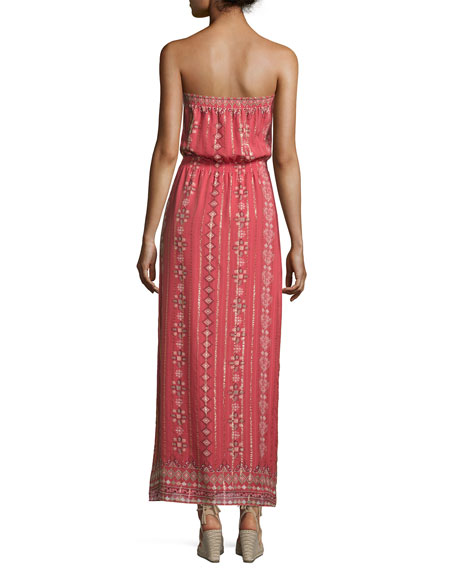 Mariele Strapless Printed Maxi Dress, Terracotta Bloom