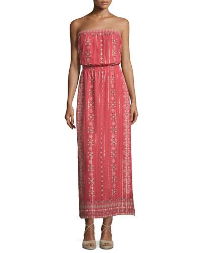 Mariele Strapless Printed Maxi Dress, Terracotta Bloom