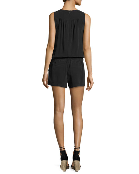 Caline Sleeveless Lace-Up Silk Romper, Black