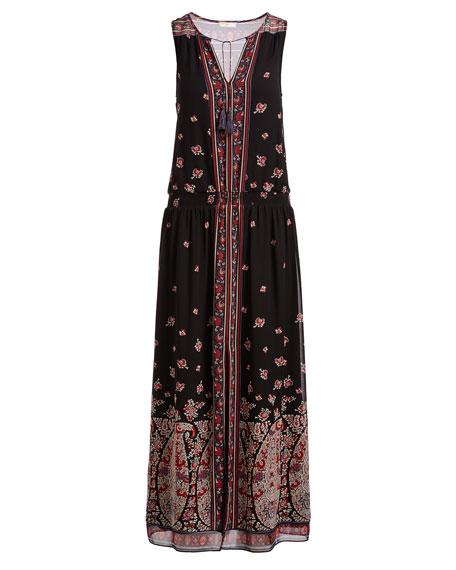 Phanette Printed Silk Maxi Dress, Black