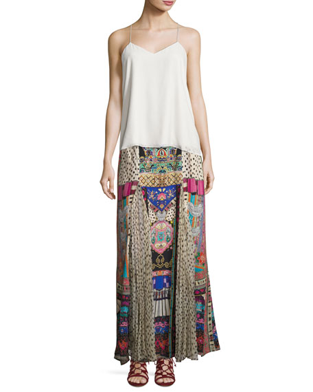 Silk Maxi Skirt W/ Pleat Inserts, Multi