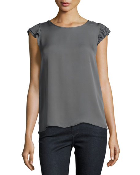 Joie Nesrin Cap-Sleeve Silk Top, Granite