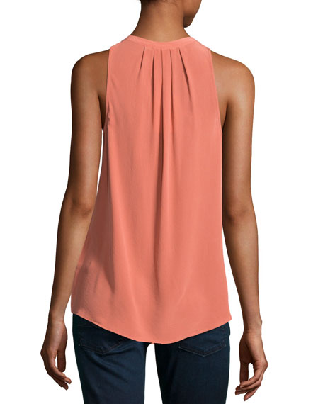 Aruna Sleeveless Silk Blouse, Orange