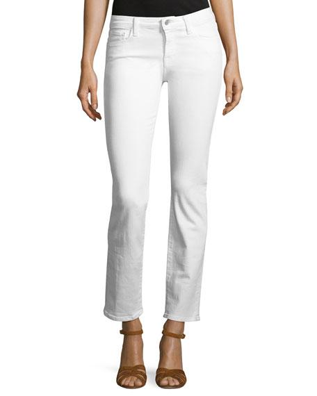 Amelia Mid-Rise Straight-Leg Jeans, White