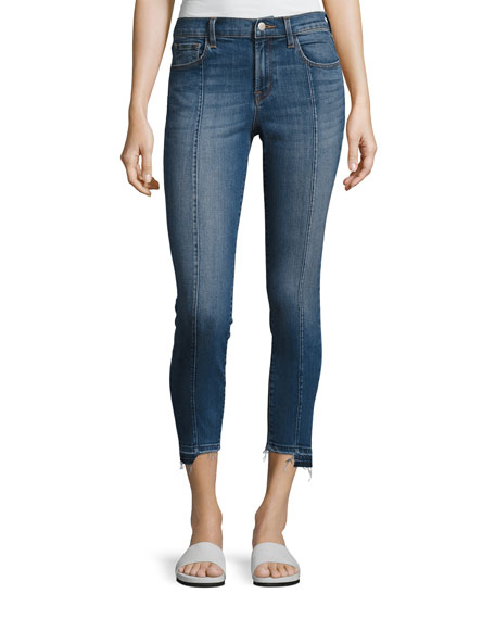 J Brand Mid-Rise Pintuck Skinny Jeans, Blue