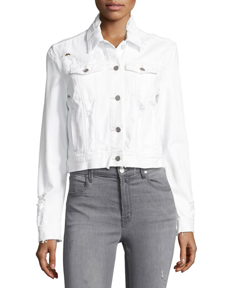 Harlow Fallen Destruct Jean Jacket, White