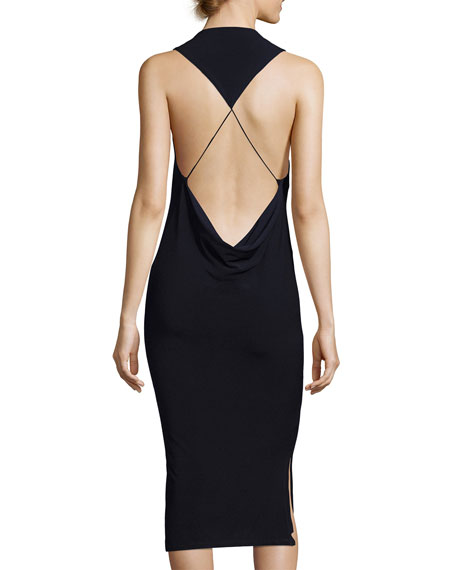 Hold Me Tight Exposed-Back Midi Dress, Black