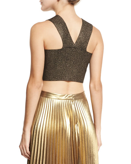 Ali Metallic Crop Top, Silver